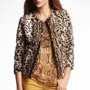 EXPRESS Leopard Print Faux Fur Pea Coat Jacket